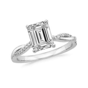emerald cut diamond solitaire ring twisted shank white gold 01