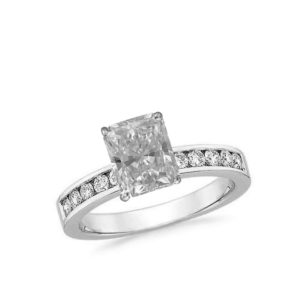 radiant cut diamond solitaire ring channel set white gold 01