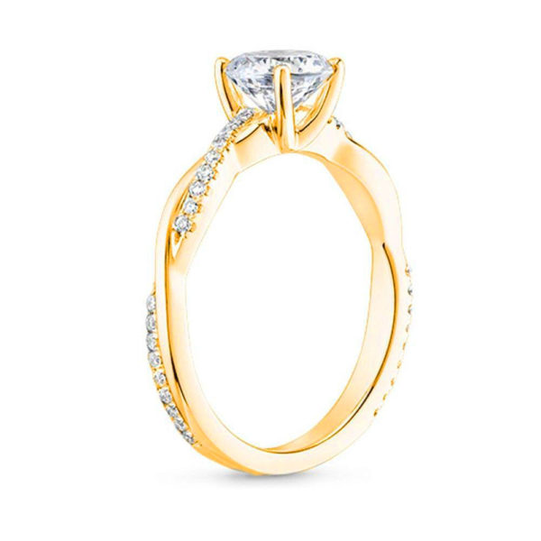 solitaire ring twisted shank side yellow gold 01